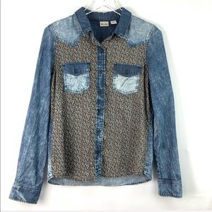 Mudd Cotton Long Sleeve Denim and Floral Blouse